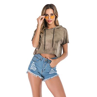 cheap Hoodies & Sweatshirts-Women's Basic / Street chic Hoodie - Tie Dye Army Green S