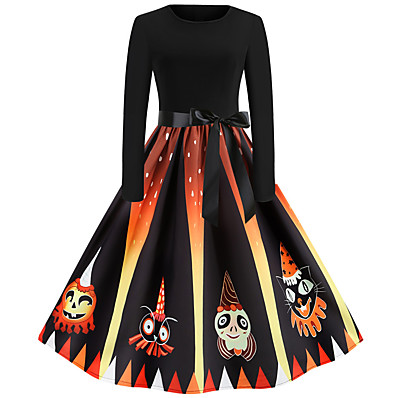 cheap Halloween2019-Women's Halloween Festival Vintage Basic Swing Dress - Geometric Patchwork Print Black S M L XL