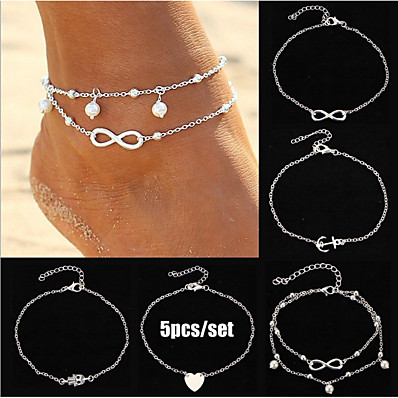 cheap Women's Jewelry-Ankle Bracelet Women's Body Jewelry For Gift Daily Alloy Gold Silver 5pcs