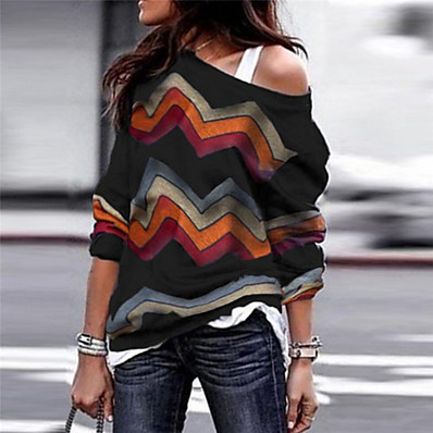 cheap Knit Tops-Women's Striped Long Sleeve Loose Pullover Sweater Jumper, Round Neck Fall / Winter Wine / Black / Purple S / M / L