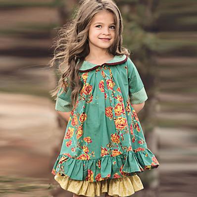 abordables ENFANTS-Enfants Petit Fille Robe Fleurie Vert Coton Mi-long Demi Manches Le style mignon Robes Standard