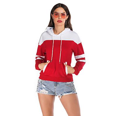 cheap Hoodies & Sweatshirts-Women's Basic / Street chic Hoodie - Color Block Red S