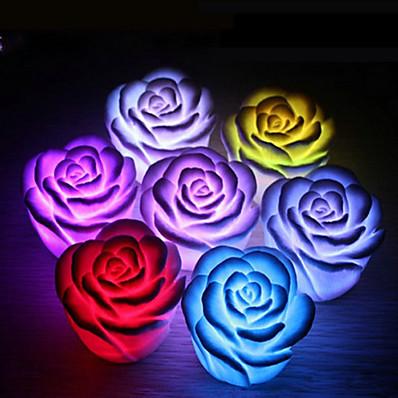 abordables Déco & Lumière De Nuit-4 pcs rose fleur led lumière nuit changeant romantique bougie lumière lampe festival fête décoration lumière