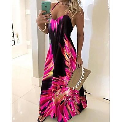 cheap Dresses-Women's Maxi Slim Sheath Dress - Geometric Strap Fuchsia Blue Red S M L XL