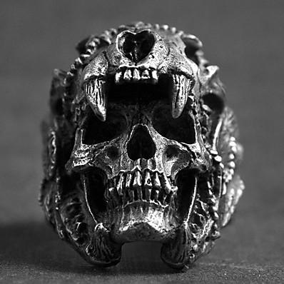preiswerte Schmuck für Herren-Ring Vintage Stil Silber Aleación Totenkopf Retro Punk Modisch 1pc 8 9 1 11 / Herrn