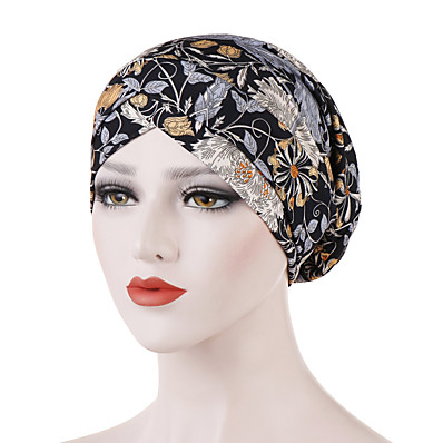 cheap ACCESSORIES-Women's Basic Cotton Polyester Floppy Hat-Floral All Seasons Black Orange Royal Blue