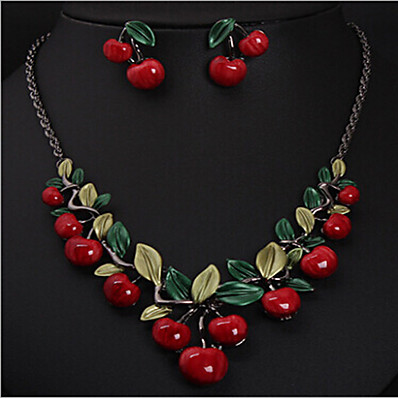cheap Women's Jewelry-Women's Resin Necklace Geometrical Cherry Stylish Earrings Jewelry Gold For Party 1 set