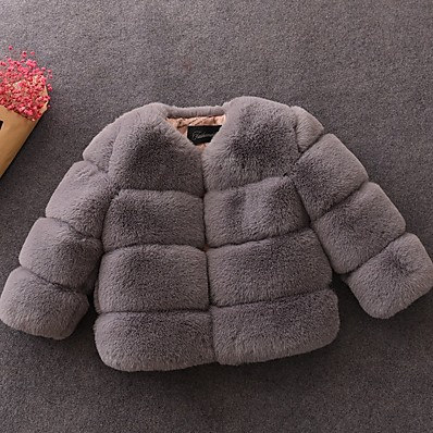 cheap BABY & KIDS-Kids Girls' Basic Solid Colored Faux Fur Jacket & Coat Wine