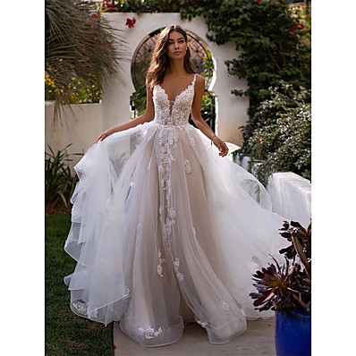 cheap Wedding Dresses-A-Line V Neck Chapel Train Lace / Tulle Spaghetti Strap Romantic Sexy / Beautiful Back Made-To-Measure Wedding Dresses with Appliques 2020