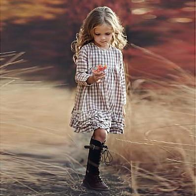cheap Girls' Clothing-Kids Little Dress Girls' Houndstooth Print Beige Knee-length Long Sleeve Dresses