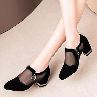cheap Sandals-Women's Sandals Mesh Chunky Heel Round Toe PU Summer Black