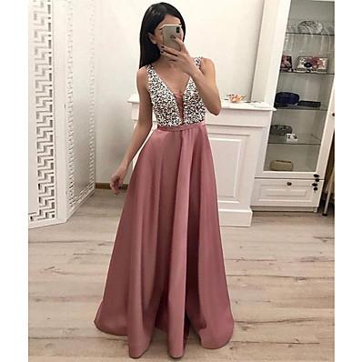 cheap Evening Dresses-Women's Sheath Dress - Solid Colored Blushing Pink S M L XL