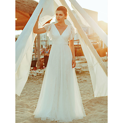 cheap Wedding Dresses-A-Line V Neck Floor Length Lace Short Sleeve Made-To-Measure Wedding Dresses with Lace 2020