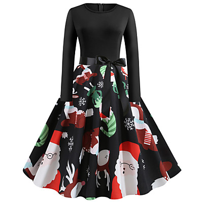 cheap Halloween2019-Women's Christmas Party Vintage Street chic Slim Little Black Dress - Floral Santa Claus, Print Black S M L XL