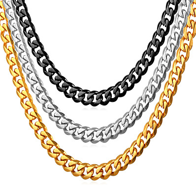 cheap ACCESSORIES-Men's Chain Necklace Cuban Link Mariner Chain Fashion Hip Hop Stainless Steel Black Gold Silver 55 cm Necklace Jewelry 1pc For Gift Daily