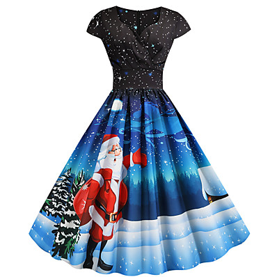 cheap Halloween2019-Women's Christmas Party Festival Vintage Basic Swing Dress - Geometric Snowflake Santa Claus, Print V Neck Blue S M L XL