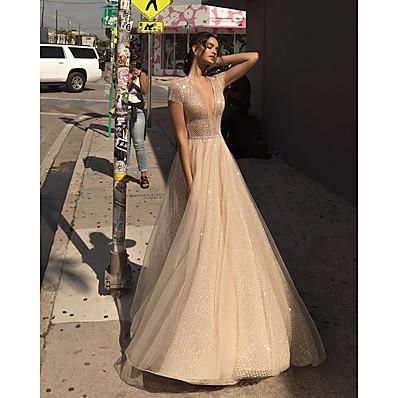 cheap Evening Dresses-Women's Sheath Dress - Solid Colored Beige S M L XL