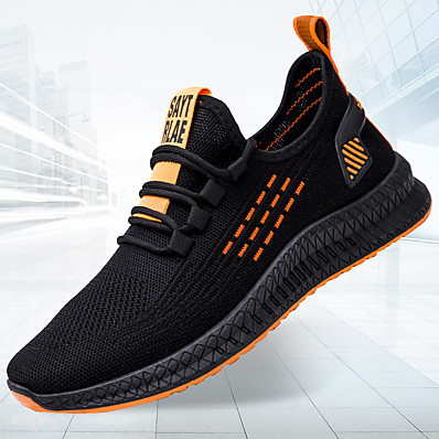 cheap Men's Shoes-Men's Comfort Shoes Tissage Volant Fall / Spring & Summer Casual Athletic Shoes Running Shoes / Walking Shoes Non-slipping Striped Black and White / Black / Yellow / Orange / Black / Color Block