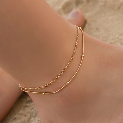 cheap ACCESSORIES-Ankle Bracelet Simple Boho Vintage Women's Body Jewelry For Daily Layered Copper Gold Silver 1pc