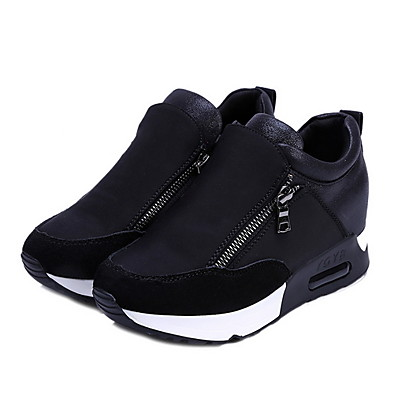 cheap Sneakers-Women's Athletic Shoes Flat Heel Round Toe Canvas Running Shoes Fall & Winter Black / Red