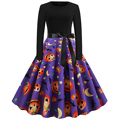 cheap Halloween2019-Women's Halloween Basic A Line Dress - Color Block Print Purple S M L XL