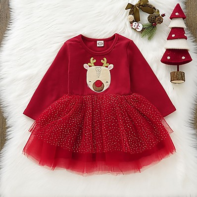 cheap Baby & Toddler Girl-Baby Girls' Basic Print Christmas Long Sleeve Dress Red / Toddler
