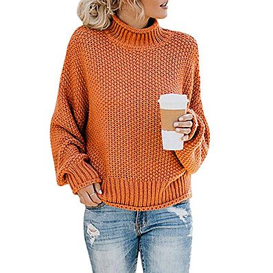 cheap Knit Tops-Women's Solid Colored Long Sleeve Pullover Sweater Jumper, Turtleneck Fall / Winter Cotton Black / Wine / Orange S / M / L