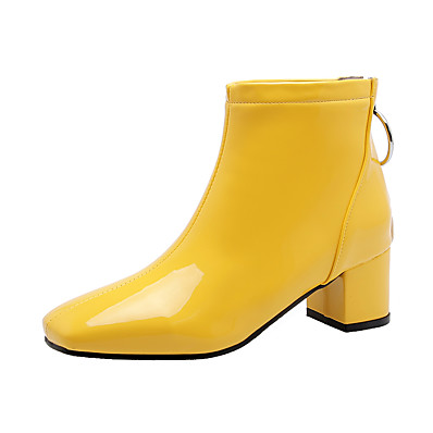 cheap Boots-Women's Boots Block Heel Boots Block Heel Square Toe Booties Ankle Boots Casual Minimalism Daily Patent Leather Solid Colored Winter White Black Yellow / Booties / Ankle Boots / Booties / Ankle Boots