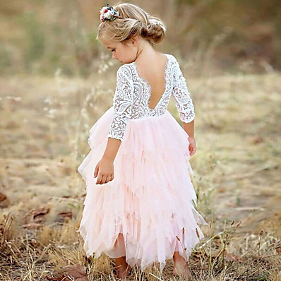 cheap KIDS-Kids Girls' Princess Party Daily Solid Colored Flower Lace Layered Long Sleeve Dress White