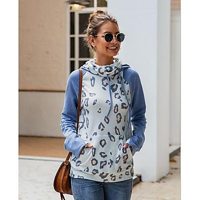 cheap NewIn-Women's Casual Hoodie - Leopard Blue S