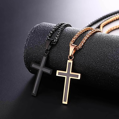 cheap Men's Jewelry-Men's Pendant Necklace Rope franco chain Cross Dangling Stainless Steel Rose Gold Black Gold Silver 55 cm Necklace Jewelry 1pc For Gift Daily