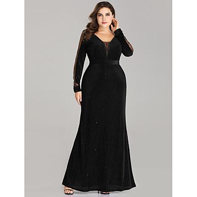cheap Mother of the Bride Dresses-Sheath / Column V Neck Floor Length Velvet Long Sleeve Plus Size Mother of the Bride Dress with Sash / Ribbon 2020