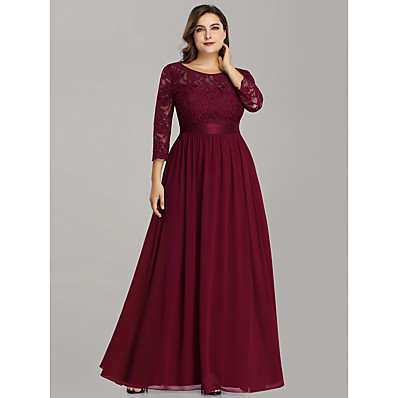 cheap Mother of the Bride Dresses-A-Line Jewel Neck Floor Length Chiffon / Lace 3/4 Length Sleeve Plus Size Mother of the Bride Dress with Lace 2020