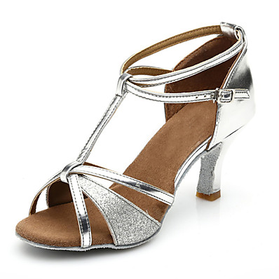cheap Sandals-Women's Dance Shoes Patent Leather Latin Shoes Heel Slim High Heel Customizable Silver