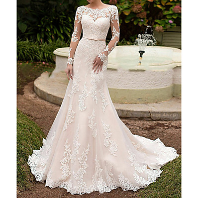 cheap Wedding Dresses-Mermaid / Trumpet Bateau Neck Sweep / Brush Train Lace Long Sleeve Beach See-Through Made-To-Measure Wedding Dresses with Sashes / Ribbons 2020