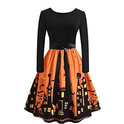 cheap Halloween2019-Women's Swing Dress - Geometric Black Purple Orange S M L XL