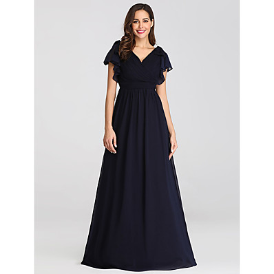 cheap Mother of the Bride Dresses-A-Line V Neck Floor Length Chiffon Short Sleeve Plus Size Mother of the Bride Dress with Ruching / Ruffles 2020 / Petal Sleeve