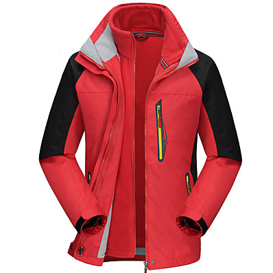 cheap Camping, Hiking & Backpacking-Men's Hoodie Jacket Hiking Jacket Hiking 3-in-1 Jackets Winter Outdoor Patchwork Waterproof Windproof Breathable Warm Jacket Top Hunting Fishing Climbing Red Army Green Blue Orange Royal Blue