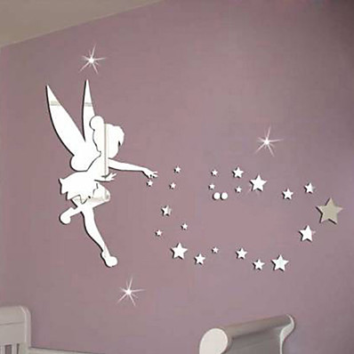 cheap Wall Stickers-Fairies Wall Stickers Living Room, Removable Acrylic Home Decoration Wall Decal 71*46cm