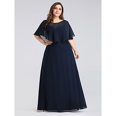 cheap Mother of the Bride Dresses-A-Line Jewel Neck Floor Length Chiffon Half Sleeve Plus Size Mother of the Bride Dress with Ruffles 2020 / Petal Sleeve