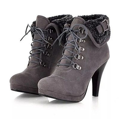 cheap Boots-Women's Boots Stiletto Heel Round Toe Booties Ankle Boots Daily Suede Black Khaki Brown / Booties / Ankle Boots / Booties / Ankle Boots