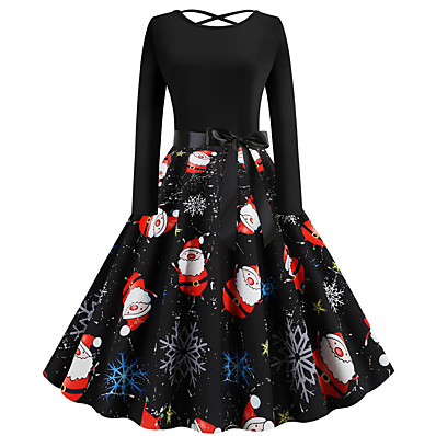 cheap Halloween2019-Women's Christmas Party Festival Vintage Basic Swing Dress - Geometric Santa Claus, Patchwork Print Black S M L XL