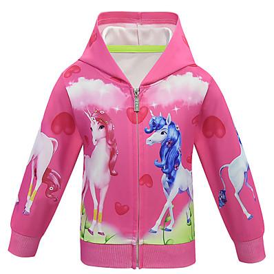 abordables Vêtements pour Filles-Enfants Fille Actif Basique Unicorn Géométrique Normal Veste & Manteau Violet