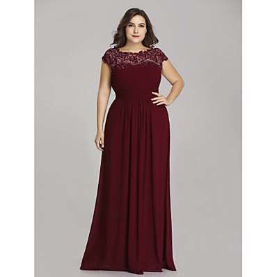 cheap Mother of the Bride Dresses-A-Line Jewel Neck Floor Length Chiffon Short Sleeve Plus Size Mother of the Bride Dress with Lace / Ruching 2020