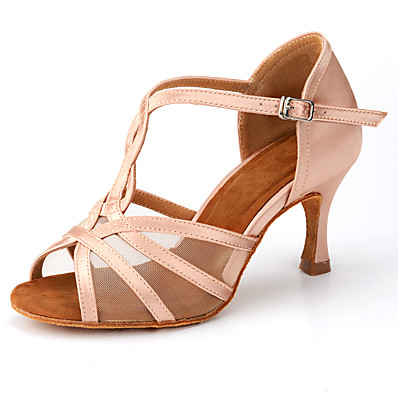 cheap Pumps & Heels-Women's Dance Shoes Latin Shoes Heel Satin Flower Buckle Flared Heel Black Almond T-Strap / Practice
