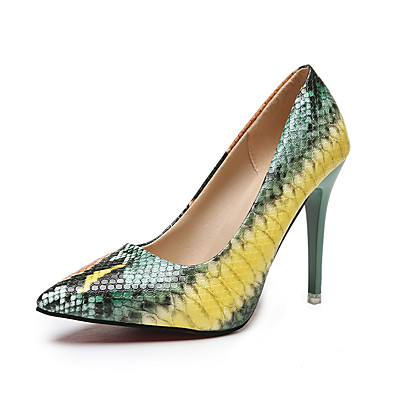 cheap Pumps & Heels-Women's Heels Stiletto Heel Pointed Toe Casual Daily Animal Print PU Walking Shoes Pink / Green / 2-3