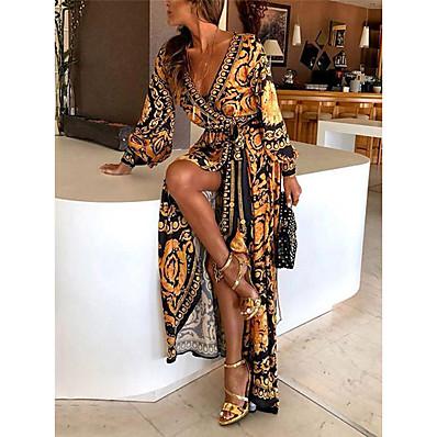 cheap Valentine's Gifts-Women's Wrap Dress Maxi long Dress Yellow Long Sleeve Other Print Spring & Summer Deep V Hot Boho vacation dresses 2021 S M L XL XXL