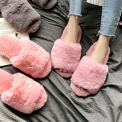cheap Home Textiles-Women's Slippers / Girls' Slippers Slide Slippers / Guest Slippers / House Slippers Casual Faux Fur solid color Shoes