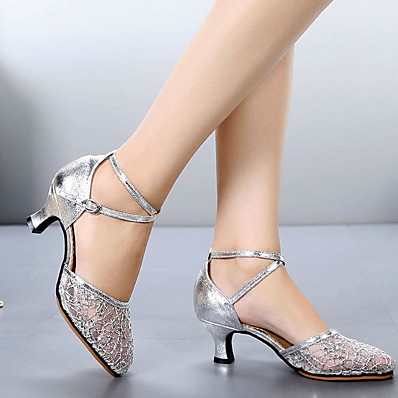 cheap Sandals-Women's Modern Shoes / Ballroom Shoes Mesh Heel Cuban Heel Dance Shoes Black / Gold / Silver / Performance
