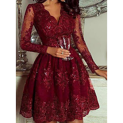 cheap Doorbuster-Women's Daily Wear Elegant A Line Dress - Geometric Sequins Deep V Wine M L XL XXL